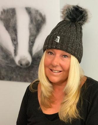 Grey Woolly Bobble Hat