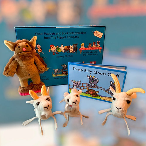 Three Billy Goats Gruff Nursery Rhyme Book with Finger Puppets