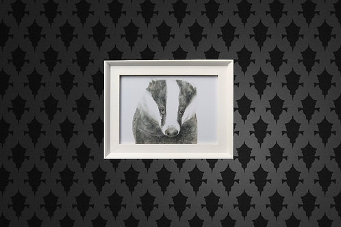 Mr Lumpy Water Colour Print in White Frame
