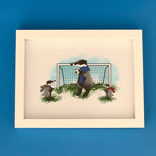 Sporty Badger White Box Frame Picture