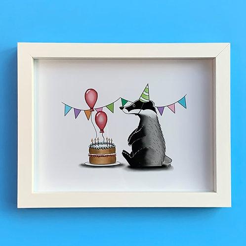 Birthday Badger White Box Frame Picture