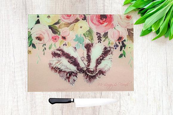 Badger Bouquet Glass Chopping Board