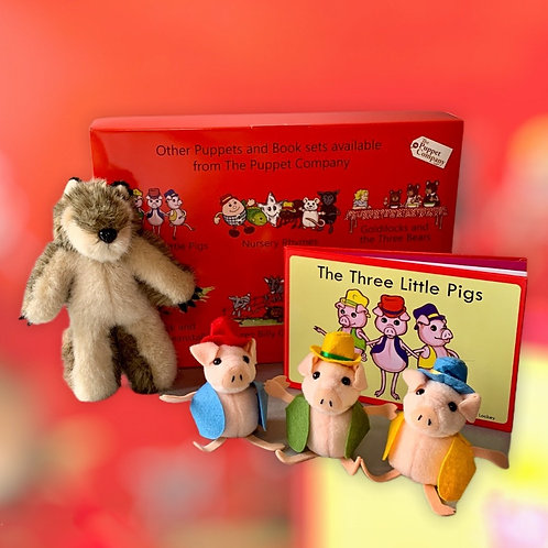 Three Little Pigs Nursery Rhyme Book & Finger Puppets