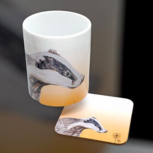 Dandelion Badger Mug  Coaster Set