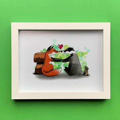 Woodland Friends White Box Frame Picture