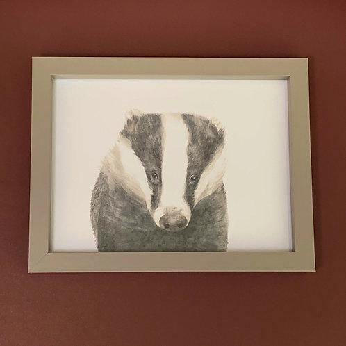 Mr Lumpy Watercolour Grey Box Frame Print
