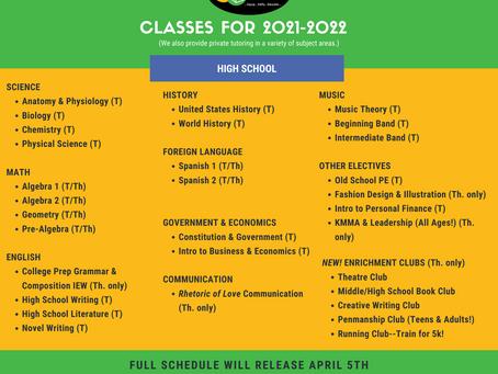 2021-2022 Class Offerings!