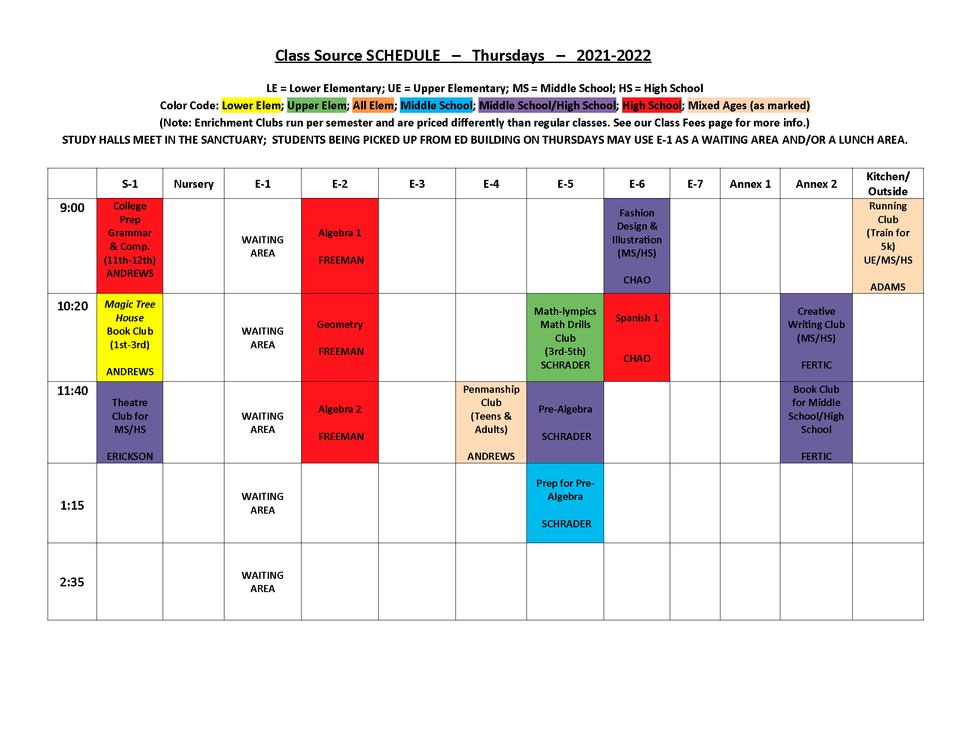 2021-2022 THURSDAY Schedule