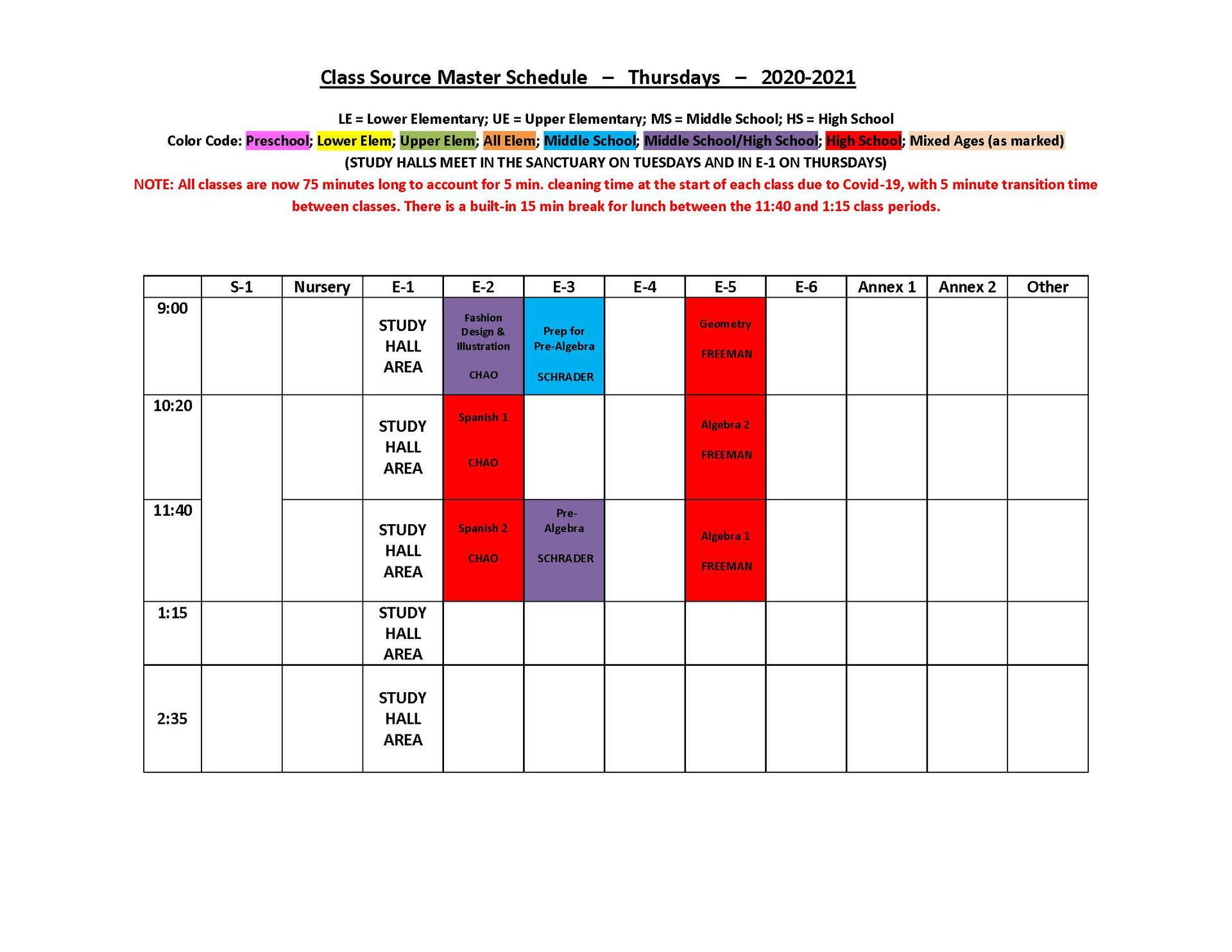 2020-2021 THURSDAY Schedule