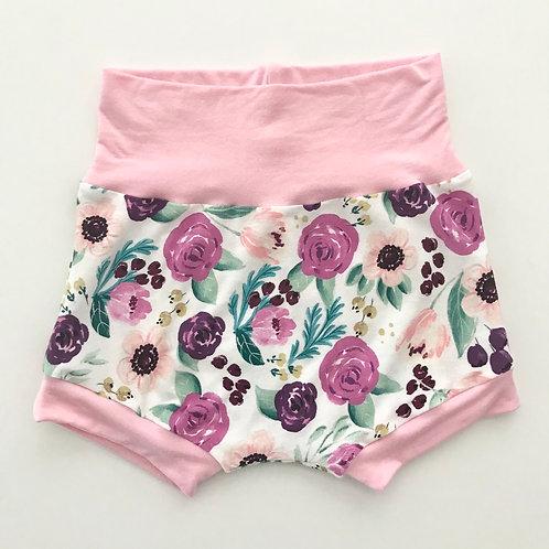 Plum Floral Shorties