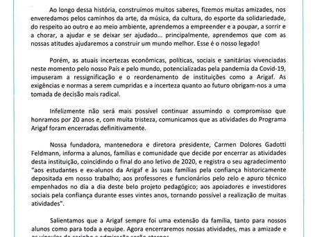 COMUNICADO DE ENCERRAMENTO DAS ATIVIDADES