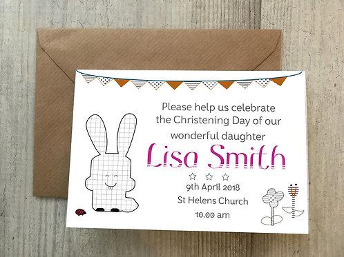 Personalise Christening Invite Rabbit