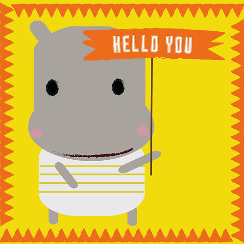 Hello You Hippo Greeting Card