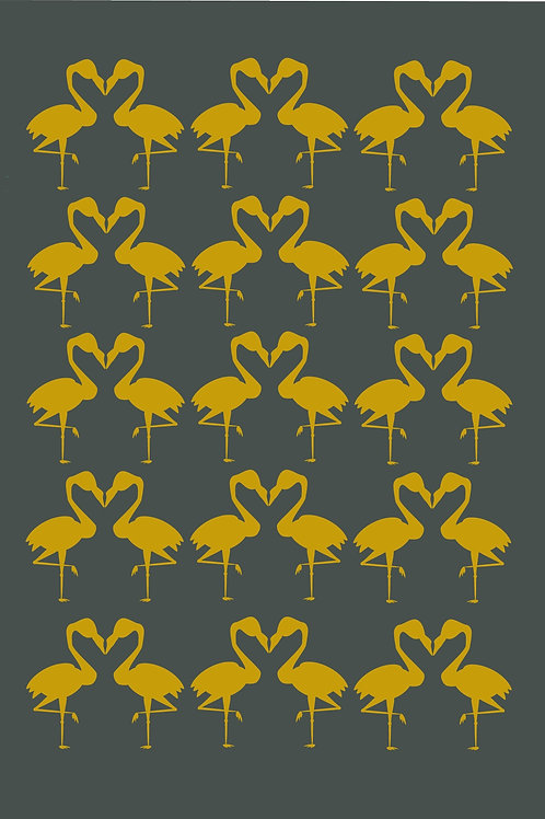Grey and Mustard Flamingo Greeting Card