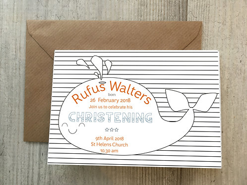 Personalise Christening Invite Whale