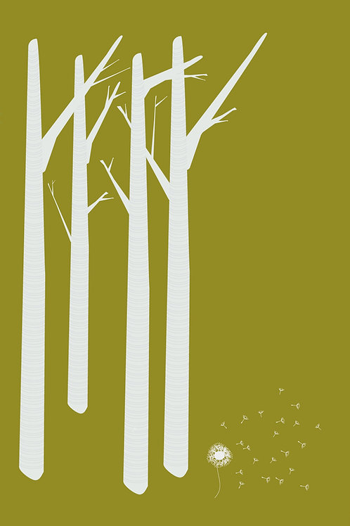 Green Birch meets Dandelion Greeting Card