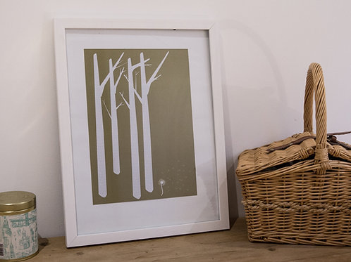 Birch meets Dandelion love poster- green