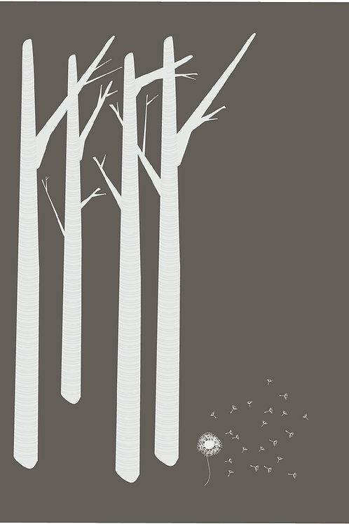 Grey Birch meets Dandelion Greeting Card