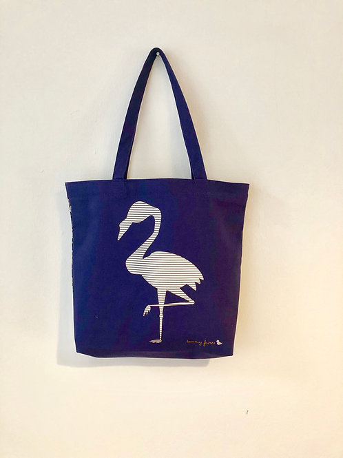 Flamingo Navy Totebag double-sided design