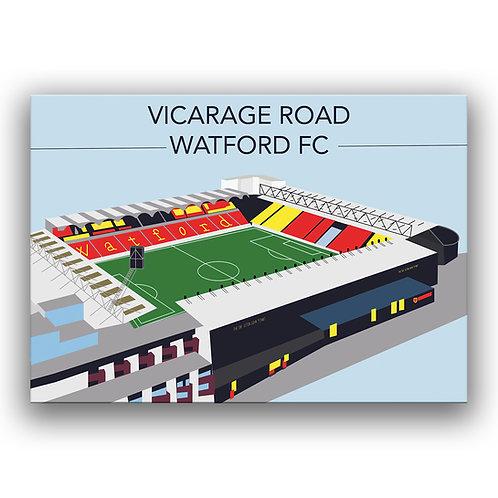 Vicarage Road Watford FC Illustration Poster