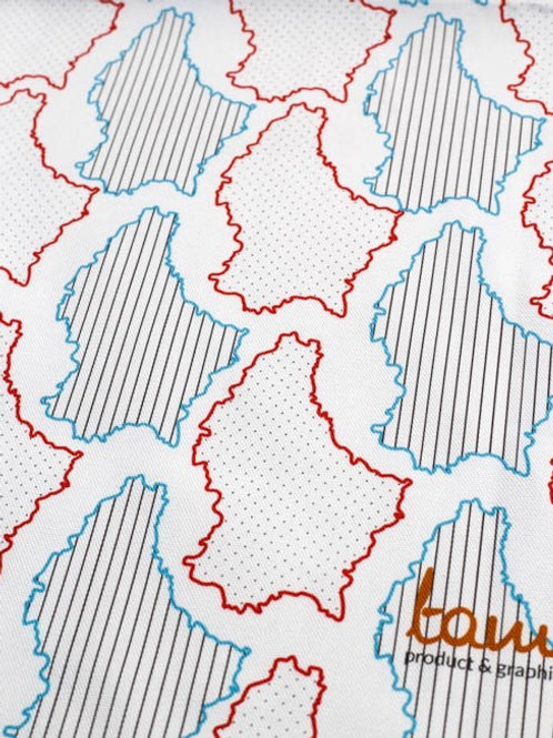 Luxembourg Maps Fabric per Meter