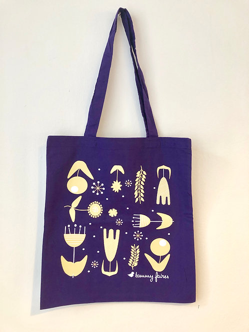 Tote Bag - Scandi Flowers - Ultra Violet