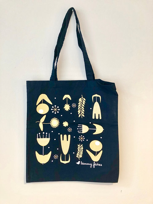 Tote Bag - Scandi Flower - Navy