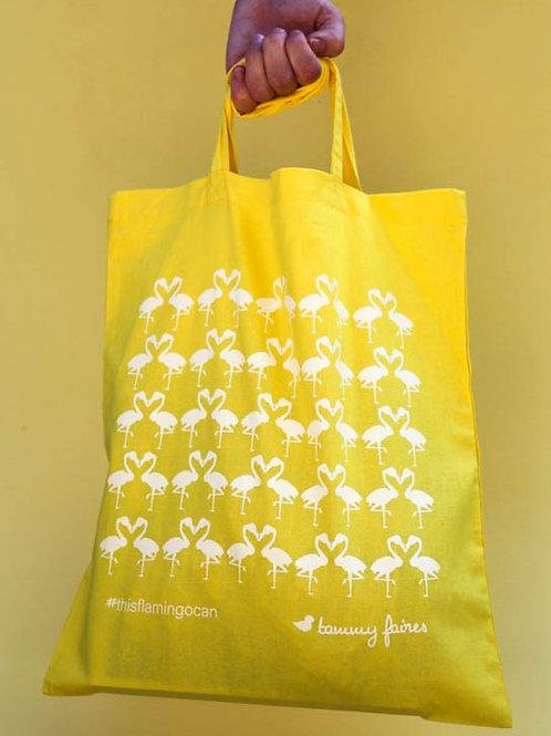 Tote Bag - Flamingo - #thisflamingocan - yellow