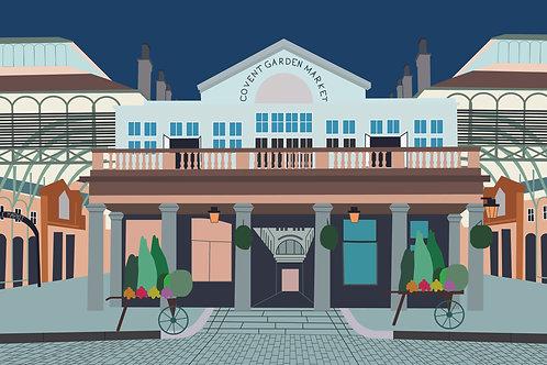 Covent Garden London Landscape Illustration Poster
