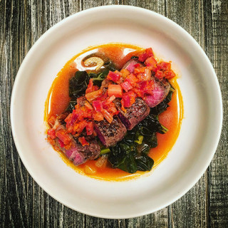 Steak and Kale with Rhubarb