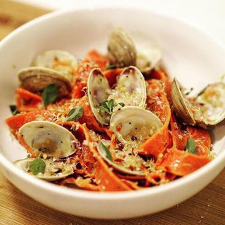 Red Pepper Pappardelle with Clams