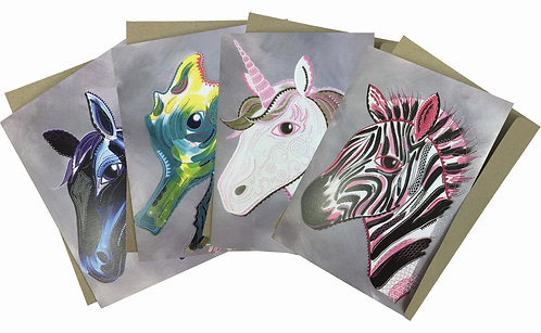 Horses 4 Courses - Set of 4 Greeting Cards