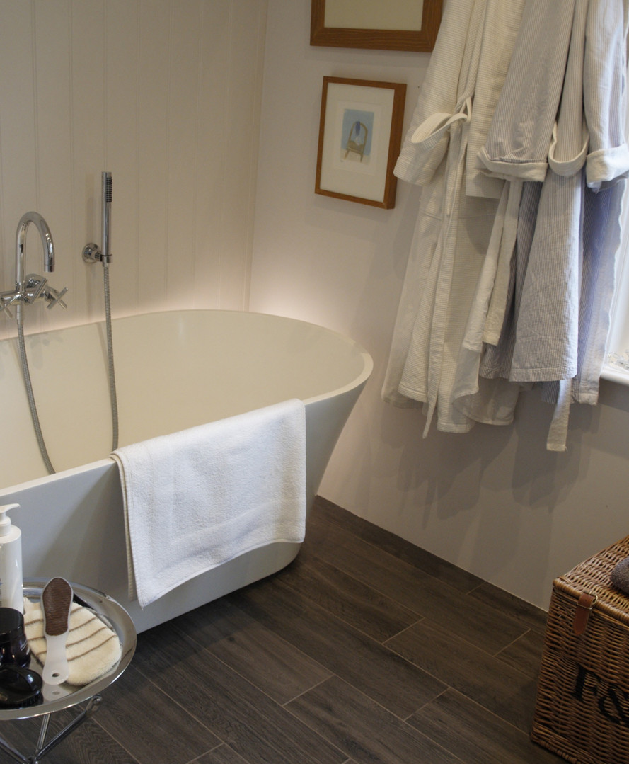 Bathroom with wood panelling
