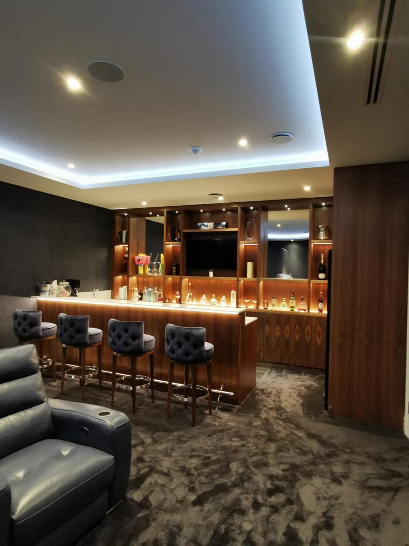 Home bar and cinema room
