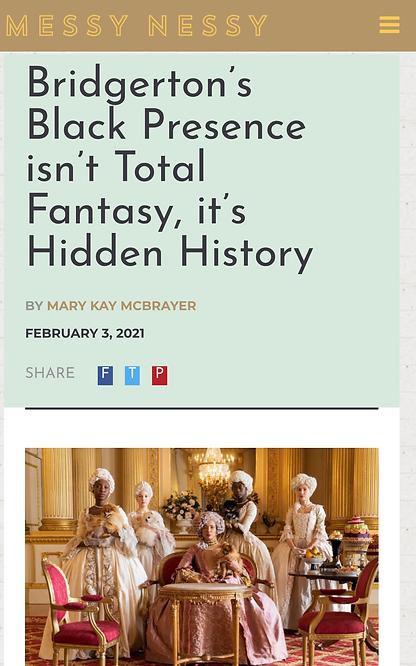 Screenshot of Bridgerton article for Mes