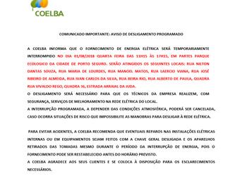 Comunicado COELBA - Parque Ecológico