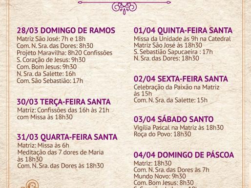 Programação da Semana Santa 2021, da Paróquia São José, em Eunápolis, de 28/03 a 04/04.