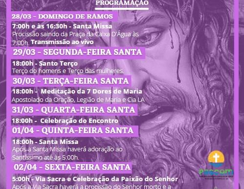 Programação da Semana Santa 2021, da Paróquia Sagrado Coração de Jesus, em Porto Seguro.