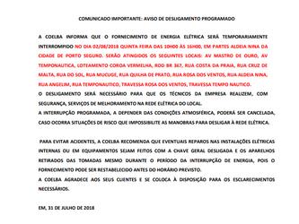 Comunicado COELBA - Aldeia Nina