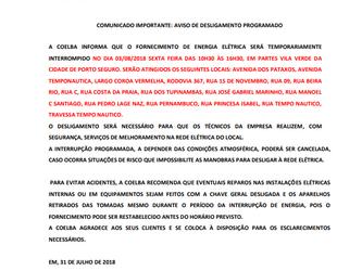 Comunicado COELBA - Vila Verde