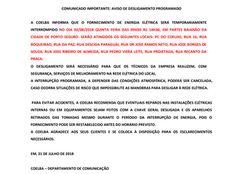Comunicado COELBA - Baianão