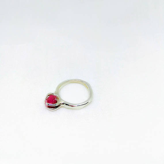 Raw Ruby Solitaire Ring