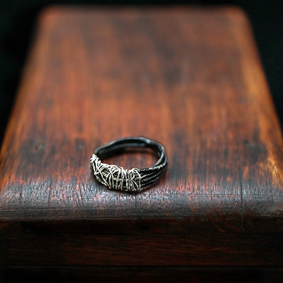Black silver man ring