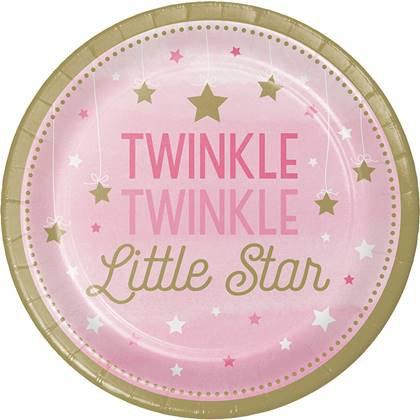 צלחות עוגה קטנות כוכב קטן מנצנץ 8 יח'
