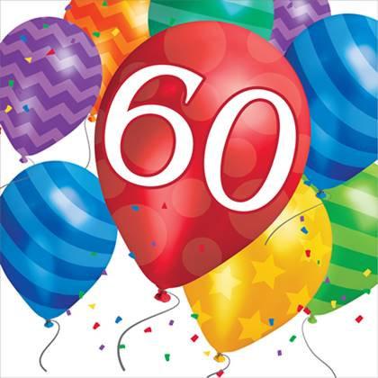 מפיות יום הולדת 60 16 יח'
