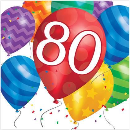 מפיות יום הולדת 80 16 יח'