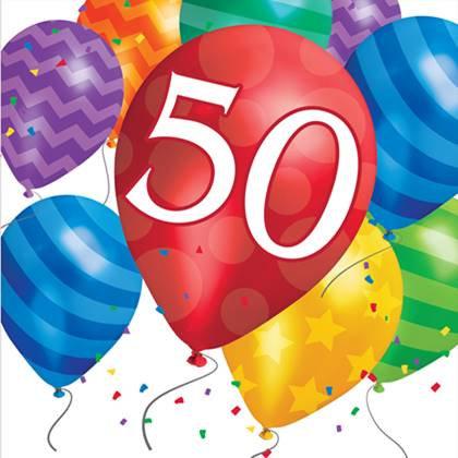 מפיות יום הולדת 50 16 יח'