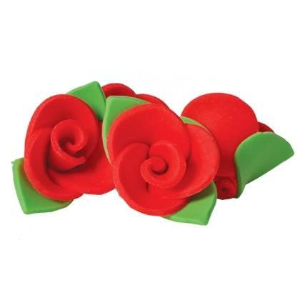 פרחי ורדים אדומים גדולים מבצק סוכר