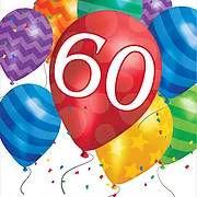 יום הולדת 60 מושלמת! אצלנו תמצאו צלחות יום הולדת 60, כוסות יום הולדת 60, מפיות יום הולדת 60, מפת שולחן יום הולדת 60 ועוד המון דברים שווים!