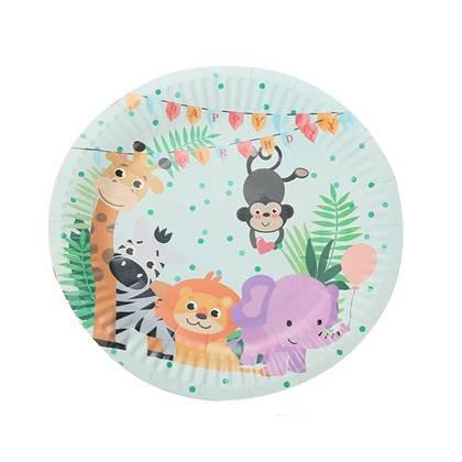 צלחות עוגה קטנות חיות בספארי 10 יח'